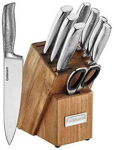 Cuisinart Elite Series 10pc Stainless Steel Hammered Knife Block Set