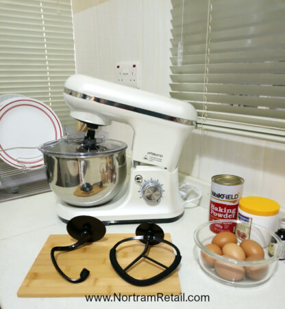 # Ambiano Food Stand Mixer 800W, 5L Bowl-4-in 1 Beater, Whisk, Dough Hook and Splash Guard, White