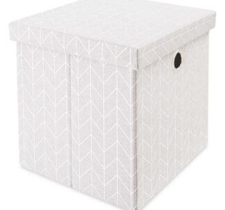 # Kirkton House Storage Cube with Lid - Metallic Silver
