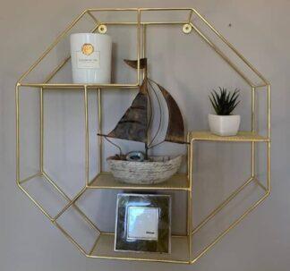 # Premium Octagon Wire Shelf - Gold