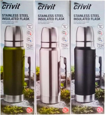 Crivit Vacuum Flask Insulated Flask 1 Litre with 2 Drinking Cups