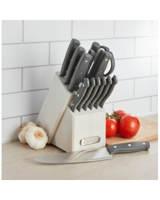 Farberware 15-Piece Forged Triple-Riveted Stainless Steel Knife Block Set