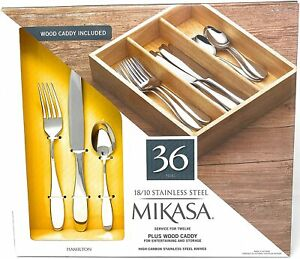 Mikasa Hamilton 36-Piece 18/10 Stainless Steel Flatware Set,Plus Wood Caddy