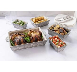 Baum Oven to Table 5-piece Paisley Baker Set - Grey