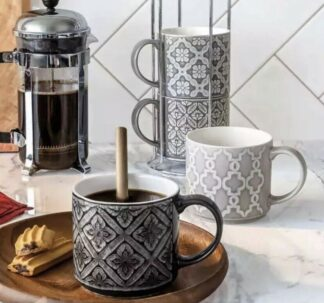 Over & Back Love Coffee Mugs with Stand- 5 Pc