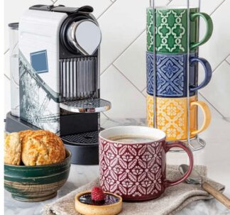 5-Piece Over & Back Love Coffee Mugs with Stand- 5 Pc