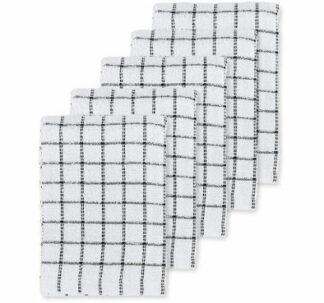 Black Terry Tea Towels 5 Pack