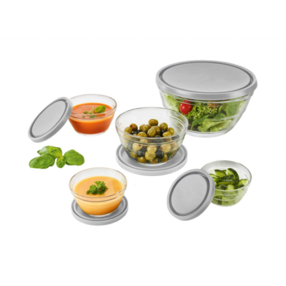Ernesto 5 Glass Bowl Set with tight lids - Grey