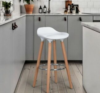 Shira Anthracite Bar Stool with Foot Rest, 110kg max load, 80.5cm Height - White