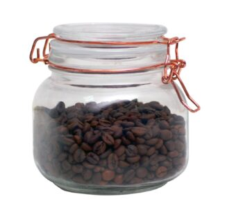 Glass Storage Jar With Rose Gold Lid - 850ml