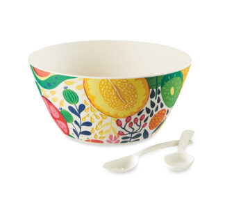 Al Fresco Dining Bamboo Fruit Salad Bowl with Fork and Spoon