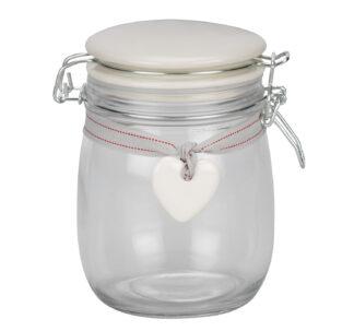 Glass Storage Jar with Ceramic Heart -1.5 Litres