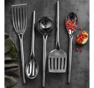 The MIU Stainless Steel Kitchen Utensils are the perfect addition to your kitchen. Made of heavy gauge stainless steel and mirror polish finish, these tools bring a modern, yet elegant touch to any kitchen. Great for both cooking and serving your guests. The handles are designed to fit comfortably in your hand for easy use. Includes: Spoon Slotted Spoon Slotted Turner Ladle Flexible Turner Features: Made of Heavy Gauge Stainless Steel 18/8 Comfortable Shape Handle High Mirror Polishing Dishwasher Safe Use for both Cooking and Serving