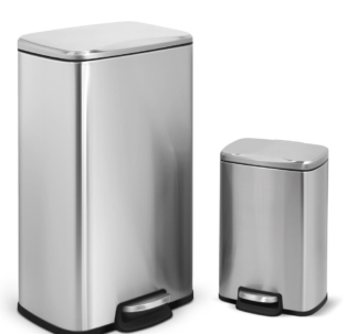 Innovaze 30L and 5L Rectangular Stainless Steel Trash Can Set