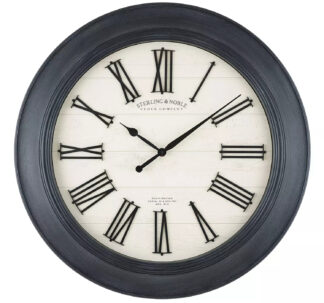 """30"""" Sterling & Noble Farmhouse Wall Clock with Raised Roman Numerals"""