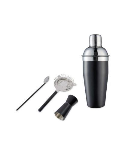 Cocktail Making set , Shaker, Jigger, Spoon, Strainer - Black