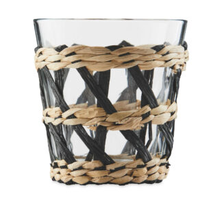 Natural Rattan Wrapped Glass Tumblers 250ml, set of 4