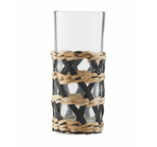 Natural Rattan Wrapped Hi Ball Glasses 300ml, set of 4